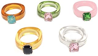 4 قطع ريترو راتنج خواتم مجموعة خمر الراتنج أنيقة شخصية الاكريليك الماس الملونة خواتم الأصابع مجوهرات للنساء الفتيات