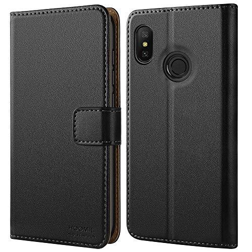 HOOMIL Handyhülle für Xiaomi Mi A2 Lite Hülle, für Xiaomi Redmi 6 Pro Hülle, Premium Leder Flip Schutzhülle für Xiaomi Mi A2 Lite/Xiaomi Redmi 6 Pro Tasche, Schwarz