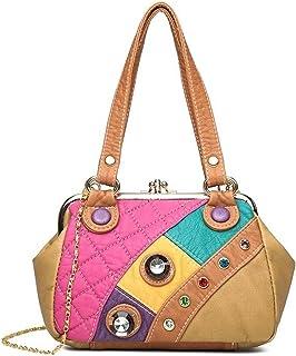 ROSCN Leder Umhängetasche für Frauen Retro Damen Kleine Schultertasche Stilvolle Messenger Satchel Casual Handtasche Tasch...
