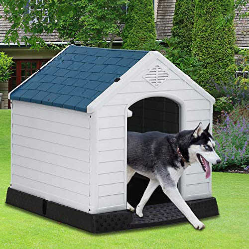 Dog House, Dog House for Small Medium Large Dogs, Waterproof Ventilate Plastic Durable Indoor Outdoor Pet Shelter Kennel with Air Vents and Elevated Floor, Easy to Assemble