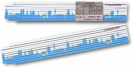 V/äter Papa Opa Handwerker 2-farbig 2 m gr/ün//blau 44spaces Zollstock Berlin Motiv Bedruckt