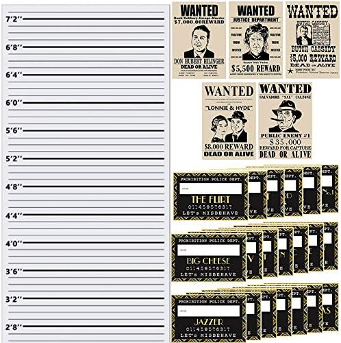musykrafties Roaring 20s Mug Shot photo Booth Props Height Chart Backdrop Wanted Sign Posters product image