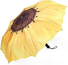 Plemo Sunflower Umbrella, 11.5 Inch Compact and Lightweight Folding Umbrella Windproof with Anti-Slip Rubberized Grip, 37