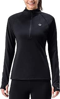 Naviskin Women's Thermal Fleece Half Zip Thumbholes Long Sleeve Shirts Outdoor Running Top