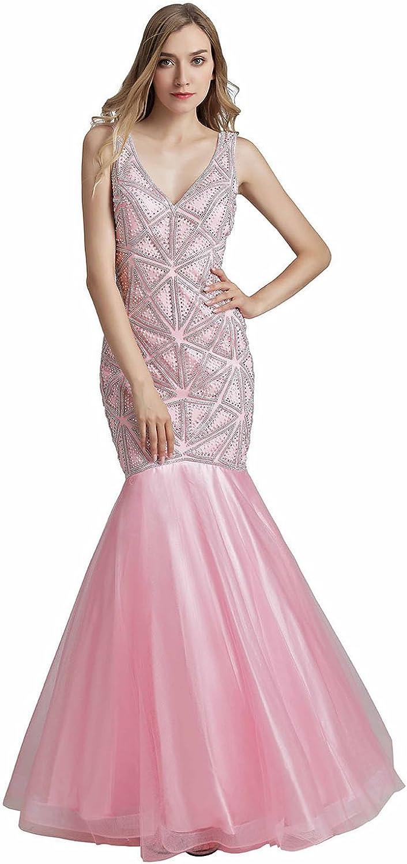 Belle House Prom Dresses Long Beaded Evening Dresses for Women Formal Mermaid Sexy V Neck Ball Gown