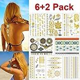 Tatuajes Temporales, Tatuaje Temporal Moda Arte Corporal Pegatinas, diseñado para mujeres, Adhesivo dorado impermeable, con más de 100 patrones diferentes,vestidos para tu Halloween (6+2 Pack)
