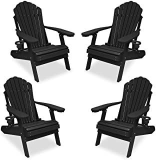 Outer Banks 4-Piece Deluxe Adirondack Chair Set (Black)