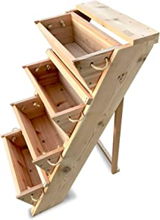 RopedOnCedar Vertical Patio Herb Garden Planter - Indoor Outdoor Growing Kit Succulent Planters Box Made of Cedar wood for Vegetables Starter Flower Boxes Pot Stand for Your Growing Balcony or Kitchen
