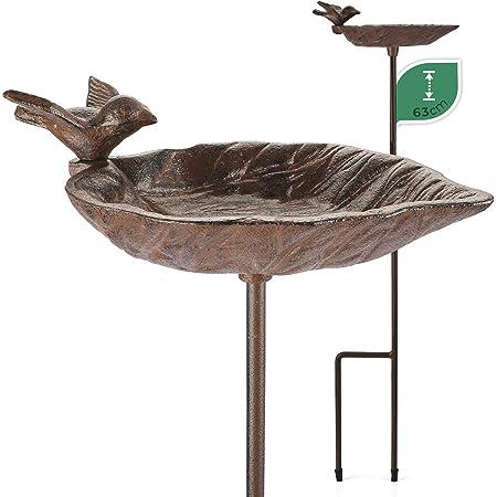 WILDLIFE FRIEND Bain d'oiseaux sur Pied, Bassin pour Oiseaux - Résistant aux Intempéries - Mangeoire, Bains avec Oiseau Décoratif