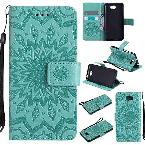 pinlu® Flip Funda de Cuero para Huawei Y5 II Carcasa con Función de Stent y Ranuras con Patrón de Girasol Cover (Verde)