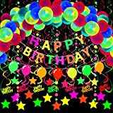 WILLBOND 33 Pieces Neon Birthday Glow Party Supplies Neon Birthday Banner Neon Balloon Banner Glow Swirl Decorations Fluorescent Balloons Neon Paper Circle Dots Garlands for Glow Birthday Party