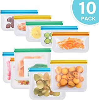 Reusable Food Storage Bags, 10 Pack Leakproof Freezer Bag, reusable sandwich/snack bags-Silicone/Ziplock/Storage For Vegetable, Liquid, Snack, Meat, Lunch, Fruit EXTRA THICK Home Organization Travel