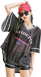 水着 レディース タンキニ 3点セット 体型カバー ビキニ Aumesovi Tシャツ ショートパンツ スポーツブラ UVカット 女性 フィットネス水着 運動風