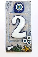 Hausnummer aus Keramik ~ Zahl 0 ~ alter Friesland-Look ~ blau wei/ß ~ 12 x 5,5 x 0,7 cm