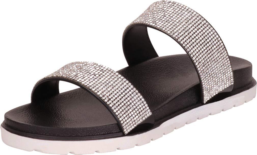 Cambridge Select 女士双绑带水晶水钻一脚蹬平底拖鞋