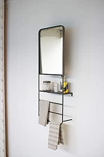 Kalalou CLL2365 Wall Mirror with Shelf and Towel Bars