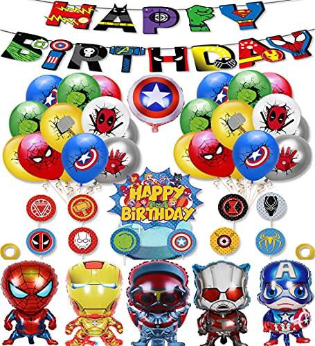 TaoQi Supereroe Tema Decorazione Festa di Compleanno Palloncino Set Marvel Iron Man, Superman, Capitan America, Spiderman Spider Man Palloncino Con Buon Compleanno Banner, Decorazione Inserti Torta