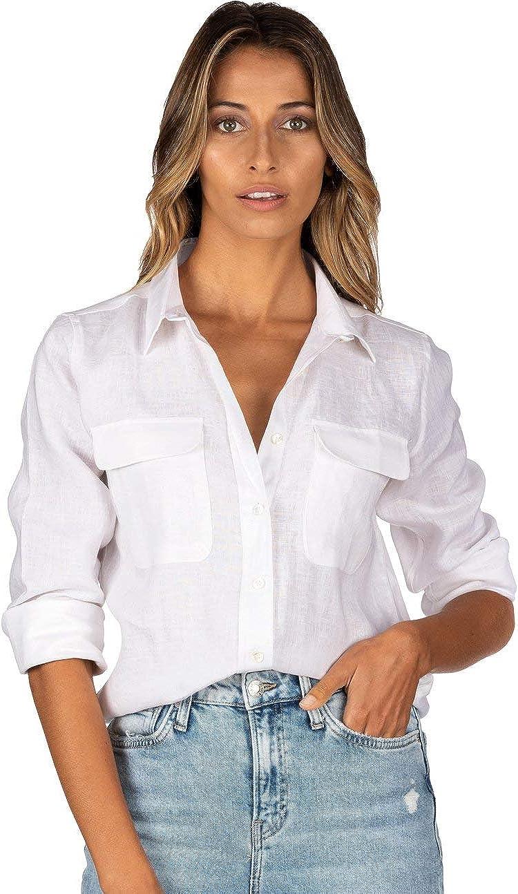 CAMIXA Womens 100% Linen Shirt Blouse Casual Pocket Button Down Tops Long Sleeve