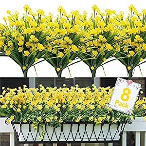 8PCS Artificial Flowers Outdoor UV Resistant Plants, 8 Branches Faux Plastic Corn-flower Greenery Shrubs Plants Indoor Outside Hanging Planter Kitchen Home Wedding Office Garden Decor (Yellow)