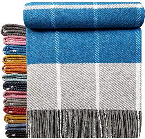Baumwolldecke sehr weiches Plaid Wohndecke Kuscheldecke in versch. Farben Baumwolle Marbella (karo) (Blau/Türkis-Grau)