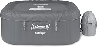 Coleman SaluSpa 4 Person Portable Square Bubble AirJet Technology Inflatable Outdoor Hot Tub Spa with Pump and Cover, Gray