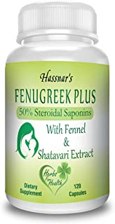 Hassnar's Fenugreek Plus, Ayurvedic Lactation Supplement for Breastfeeding Mothers - Fenugreek Seed Extract - 50% Saponins with Fennel & Shatavari Extract - 120 Capsules for Increase Milk Supply