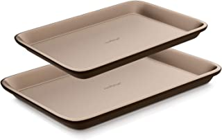 Nutrichef NC2TRBK1 Nonstick Cookie Sheet Pan|2pc Large and Med MetalBakingTray Professional Quality Kitchen Cooking Non-Stick Bake Trays w/Rimmed Borders, Guaranteed NOT to Wrap-FDA approved