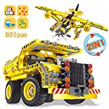 Nuduoki STEM Building Toys for Boys&Girls 361PCS Construction Engineering Kits Boy Toys for 8-12 Years Old Idea Educational Learning Toys for Kids Builds Dump Truck or Airplane(2 in 1)