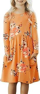 Blibea Girls Floral Print Long Sleeve Boho Empire Waist Midi Dress with Pockets