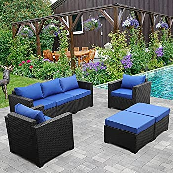 Outdoor Wicker Furniture Couch Set 5 Pieces Patio Furniture Sectional Sofa with Royal Blue Cushions and Furniture Covers Black Rattan