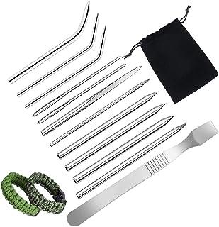 SENHAI 12 Stück Edelstahl Paracord FID Nadel mit Stoffbeutel, Paracord Nähnadel und Glättungswerkzeug für DIY Armbänder, Weben von Schnürsenkeln Schnüren, Kleidung Dekoration