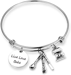 EIGSO Baker Bracelet Cooking Lover Gift Live Love Bake Pastry Chef Jewelry Culinary Graduation Gift Baking Gift