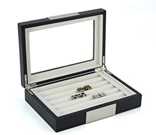 TIMELYBUYS Black Ebony Wood Cufflink Case & Ring Storage Organizer with Stainless Steel Engravable Design Accent Men's Jew...