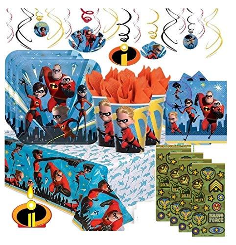 The Incredibles 2 Deluxe Party Supply Pack y decoraciones para 16 invitados incluye platos, servilletas, tazas, mantel, 6 globos, vela de cumpleaños, globo de papel de aluminio