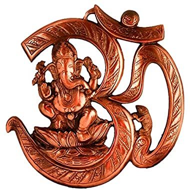 Om Ganesh 10 Inches Wall Door Hanging with Copper Finish for Prosperity and Good Luck Perfect Housewarming Gift