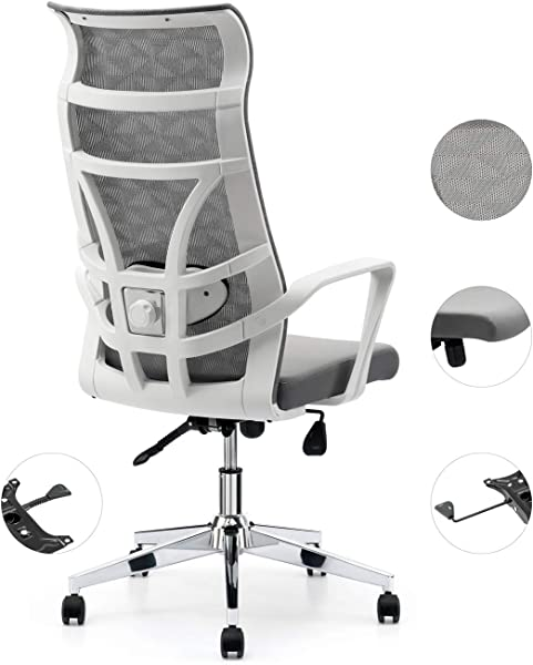 Allguest Office Chair Home Computer Chair White High Back Armrest Ergonomic Adjustable Lumbar Support Mesh Nylon AG 876FH W