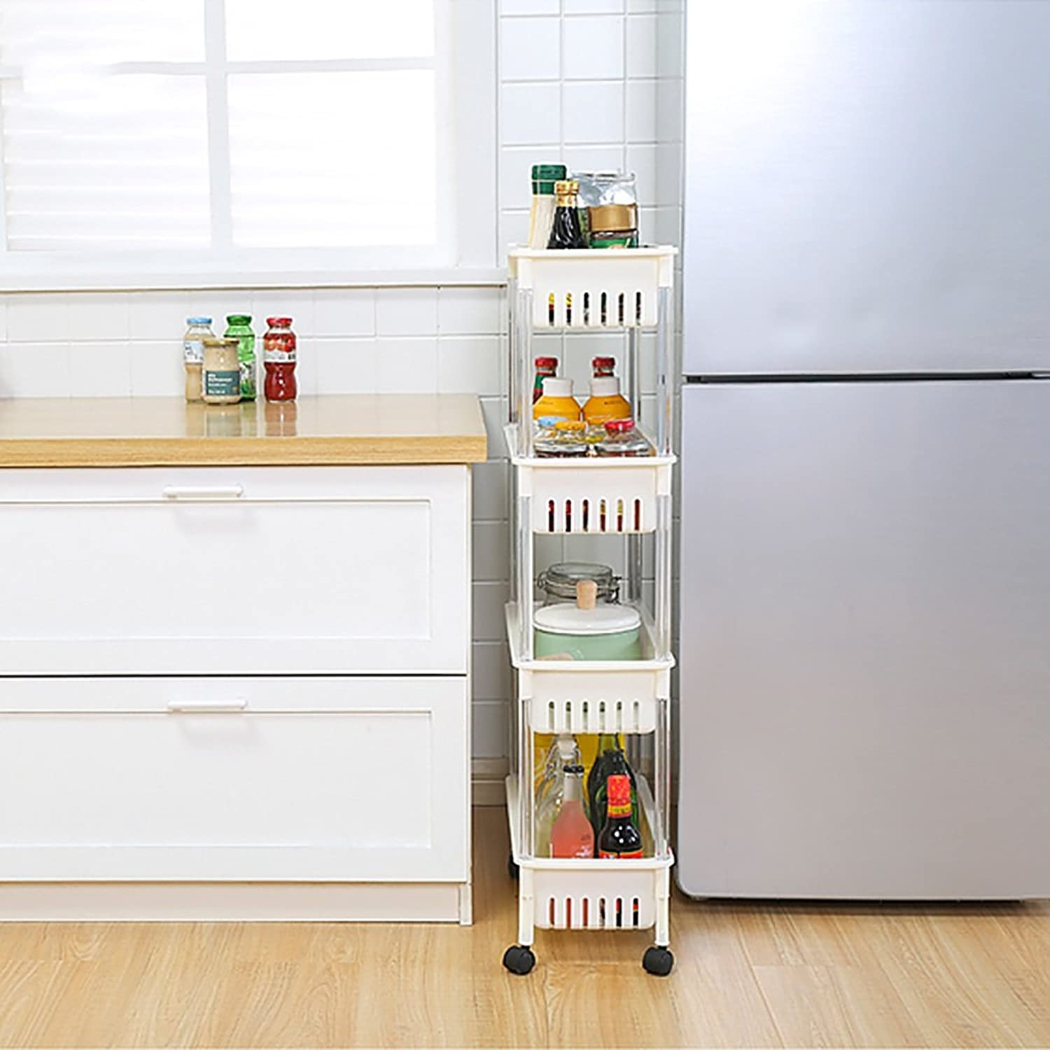 Kitchen Storage Trolleys Slide Out Storage Tower Movable Detachable Shelf with Wheels 4 Tier for Kitchen Bathroom Living Room (color   A)