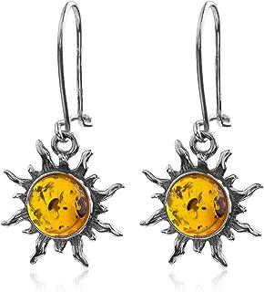 Amber Sterling Silver Romantic Sun Hook Earrings