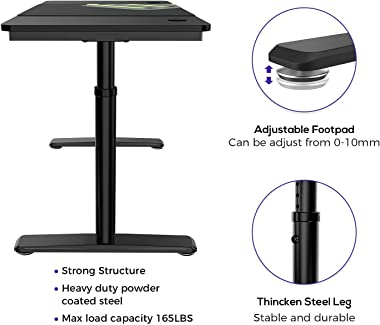 It's_Organized Adjustable Computer Desk, 60 X 27 inches Height Adjustable Desk, Study Writing PC Laptop Table Workstation