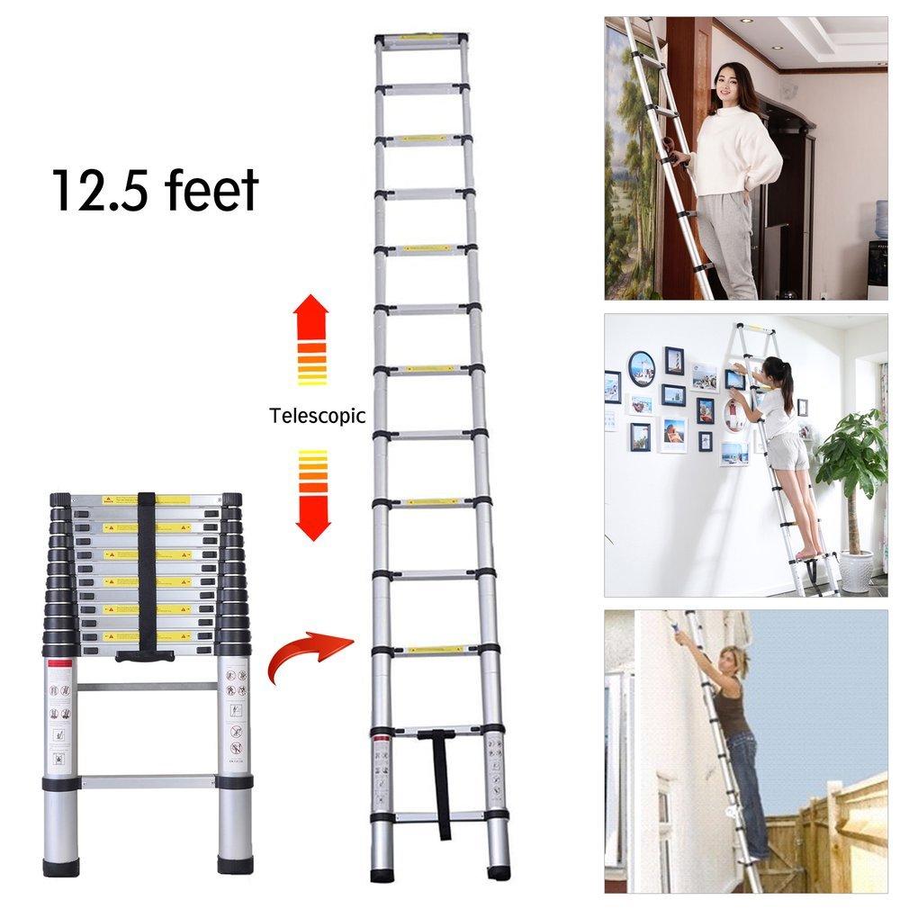Escalera telescópica de aleación de aluminio retráctil y multifunción, extensible y plegable, 2,6 m a 3,8 m, plateado: Amazon.es: Bricolaje y herramientas