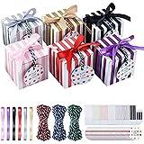Pajaver 48 Stück Süße Geschenkboxen, Quadrat Süßigkeiten Geschenkbox mit Schleifenspitzenband, Gastgeschenk für Hochzeit Babyparty Taufe Geburt