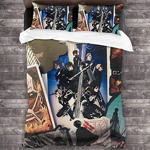 Attack on Titan Juego de ropa de cama con estampado anime 3D, tejidos de alta calidad para adolescentes, niños y niñas, con 2 fundas de almohada (Titan4, 220 x 240 cm + 50 x 75 cm x 2)