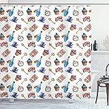 N \ A Alice im W&erland Duschvorhang, Cupcakes, Pilze & Flaschen, zum Aufhängen in Himmel, Dessertdruck, Stoffstoff, Badezimmer-Dekor-Set mit Haken, 183 cm lang, Blau / Rot