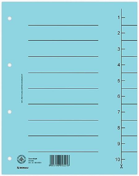 DONAU 8610001S-99 100er Pack Trennbl/ätter//Aus Recycling-Karton 250 g//qm mit Linienaufdruck f/ür DIN A4 4-Fach Lochung Trennlaschen Trennbl/ätter Ordner Register Kalender