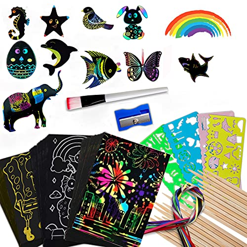 Scratch Art for Kids, 118 PCS Rainbow Scratch Paper Set Black Scratch it Off Paper Art Crafts Notes...