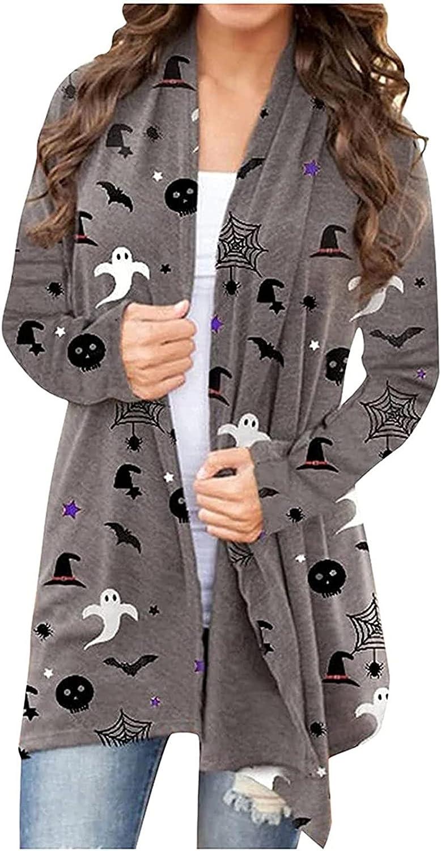 Halloween Costumes for Women Plus Size Long Sleeve Open Front Cardigan Cute Pumpkin Black Cat Ghost Long Coat