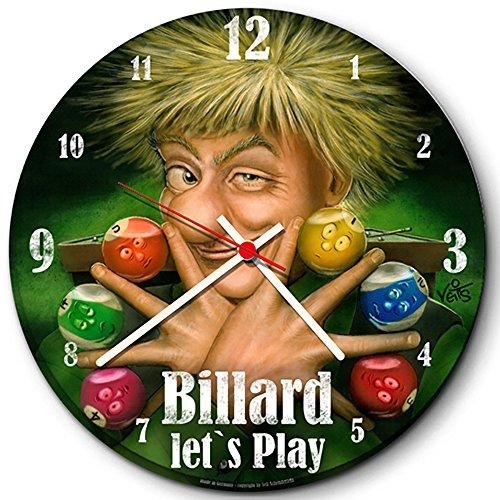 Veit's originelle, lustige Cartoon Wanduhr Freizeit Billard Spielhalle - Lets Play!