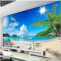 Xbwy 装飾壁画壁紙夏シービューサンシャインビーチ背景装飾壁画リビングルーム壁紙モダン-200X140Cm