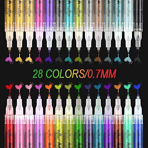 Etmury Set di 28 pennarelli acrilici da 0,7 mm, impermeabili, ideali per dipingere su pietre, legno, tela, album fotografici, vetro, metallo, ecc.
