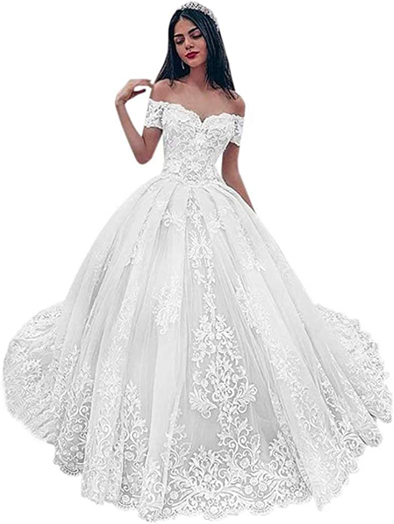 iluckin Women's Puffy Ball Gown Off Shoulder Sweetheart Appliques Lace Wedding Dress with Train for Bride